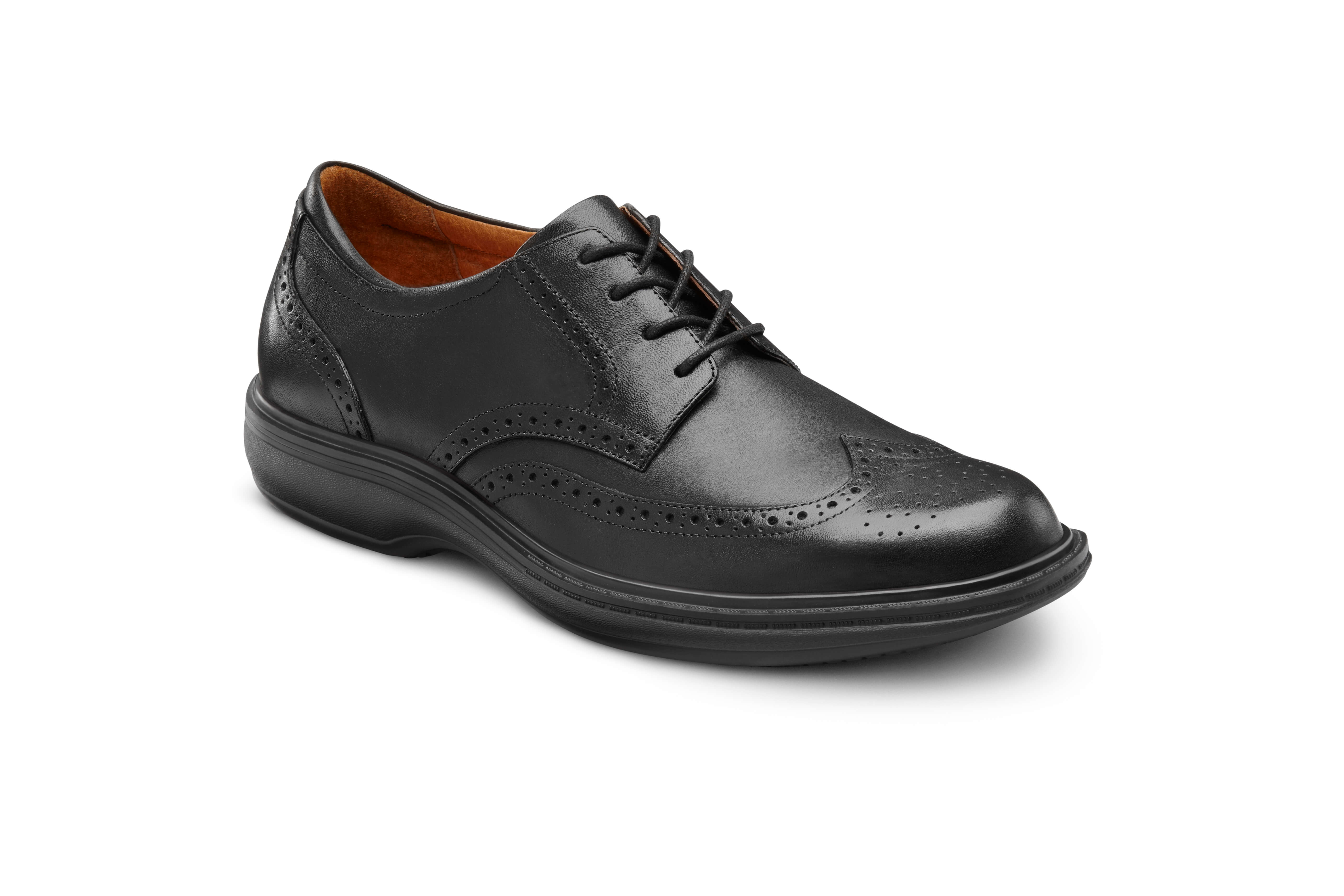 Wing Tip Black orthotic shoes